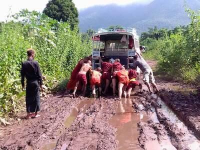 Myanmar-post-monks-pushing-truck